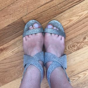 CALL IT SPRING silver sparkly heels